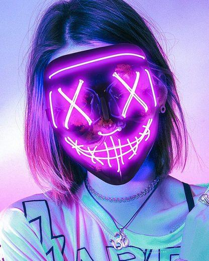 Vaxiuja Fantasy-Figur »Gruselige Halloween-Maske, LED-Leuchtmaske Cosplay, im Dunkeln leuchtende Maske Kostüm 3 Beleuchtungsmodi, Halloween-Gesichtsmasken für Männer Frauen Kinder«