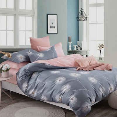 Bettwäsche »XDD«, KEAYOO, 100% Baumwolle Grau + Rosa mit Löwenzahn Wendebettwäsche mit Reißverschluss