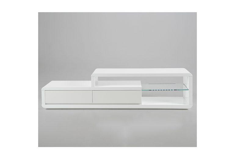 Synoun TV-Tisch weiß Hochglanz mit 2 Schubladen und Glasplatte »Conex«