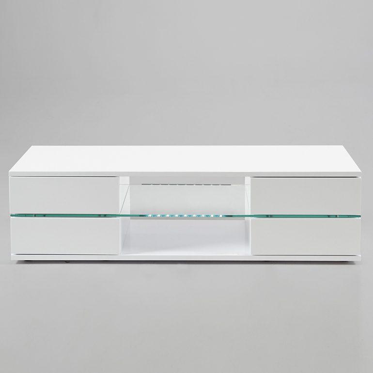 Synoun TV-Tisch Hochglanz weiß mit 4 Schubladen und Glasplatte »Cana«