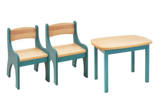 BioKinder - Das gesunde Kinderzimmer Kindersitzgruppe »Levin«, mit Tisch und zwei Stühlen, Sitzhöhe 30 cm