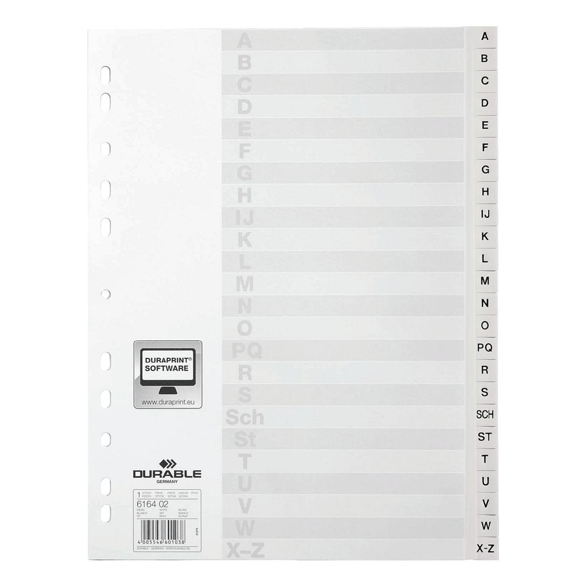 Durable Kunststoffregister A-Z 24-teilig A4 weiß