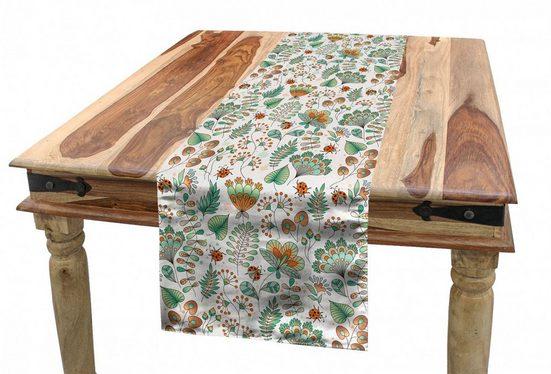 Abakuhaus Tischläufer »Esszimmer Küche Rechteckiger Dekorativer Tischläufer«, Blumen Doodle Botanical Leaves