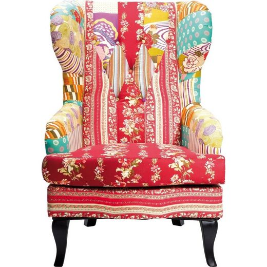 KARE Sessel »Patchwork«, Gestell: Birke Massivholz lackiert, Bezug: 100 % Baumwolle, Polsterung: 30 kg/m³ Polyurethan