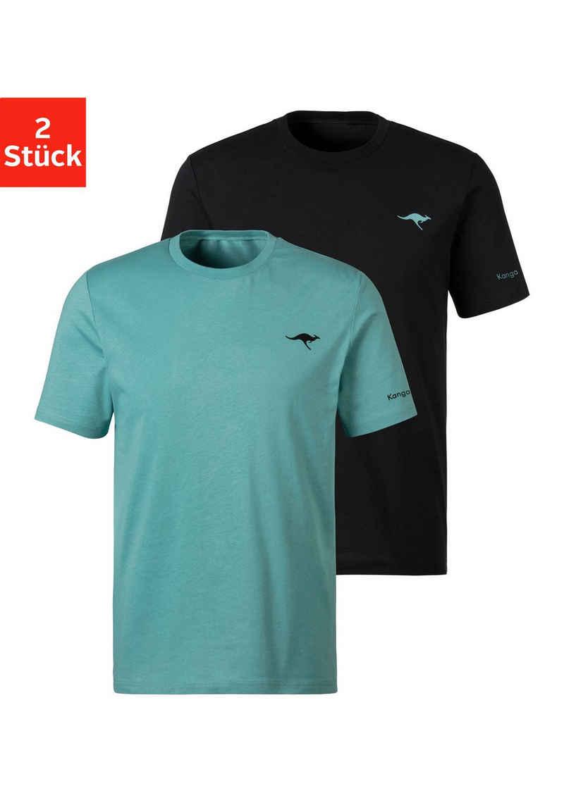 KangaROOS Kurzarmshirt »Homewear« (2er-Pack) mit KangaROOS Print auf der Brust