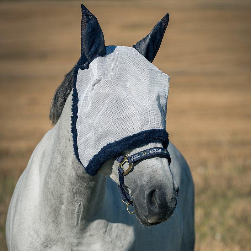 Horze Bristol »Fliegenmaske« in white dark blue