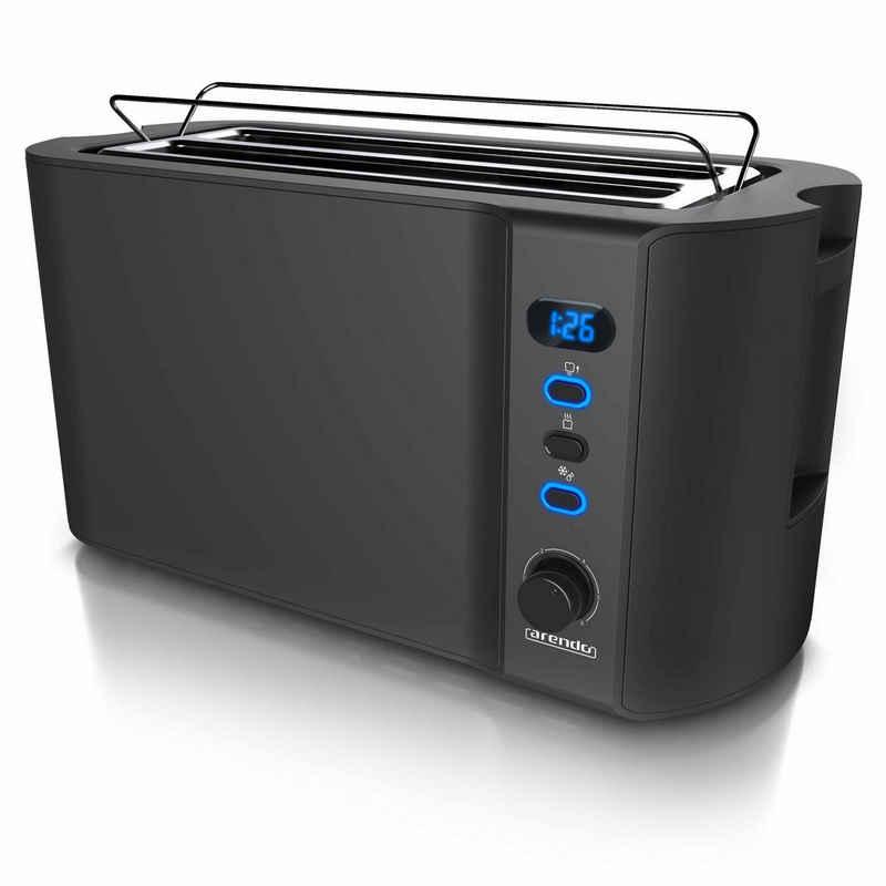 Arendo Toaster, 2 lange Schlitze, für 4 Scheiben, 1500 W, Automatik 4 Scheiben Langschlitz Toaster mit Display - Defrost Funktion - Wärmeisolierendes Doppelwandgehäuse - Frukost