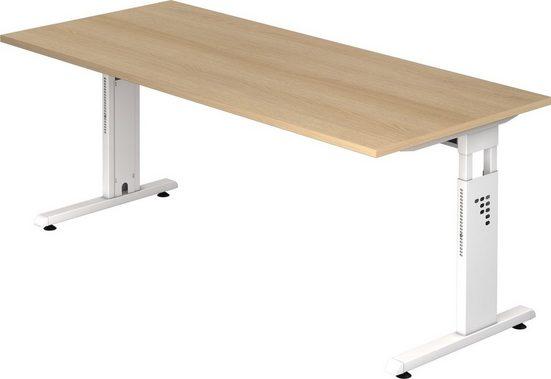 bümö Schreibtisch »OM-OS19-W«, höhenverstellbar - Rechteck: 180x80 cm - Gestell: Weiß, Dekor: Eiche