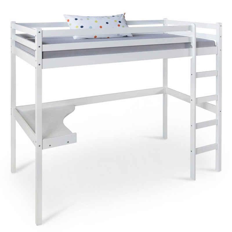 Homestyle4u Hochbett »Kinderbett 90x200 weiß Schreibtisch Spielbett« (Leiter nur rechts montierbar)