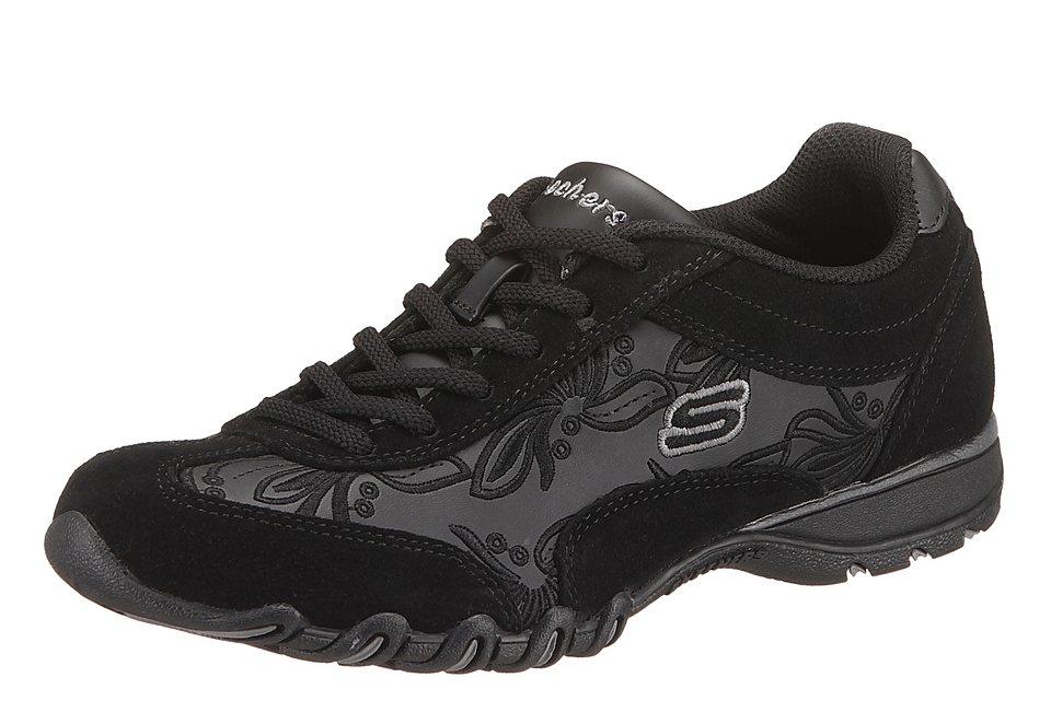 Skechers Sneaker mit Blumenstickerei und Wechselfußbett in schwarz