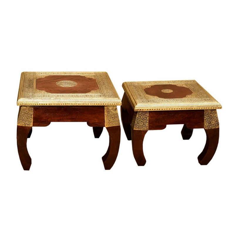 Casa Moro Opiumtisch »2 orientalische Opiumtische Messing in den Größen S & M als 2er Set aus Massivholz Sheesham, Vintage Beistelltische, Kunsthandwek, Couchtisch Sofatisch, MA5400« (Set, 2-St., 2er Set), Handmade
