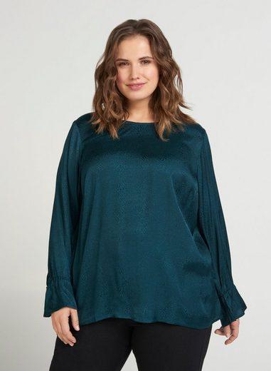 Zizzi Langarmbluse Große Größen Damen Glänzende Bluse mit Muster