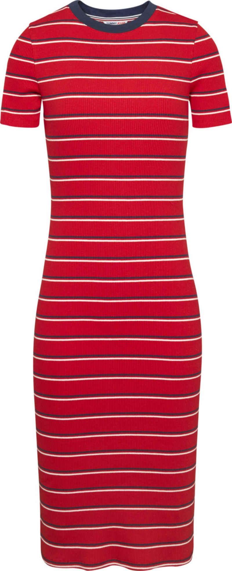 Tommy Jeans Jerseykleid »TJW Striped Rib Bodycon Dress« im allover Ringeldessin & Tommy Jeans Logo-Flag
