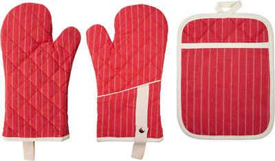 stuco Topfhandschuhe »gestreift«, (Set, 3-tlg., bestehend aus 2x Ofenhandschuh, 1x Küchengreifhilfe)