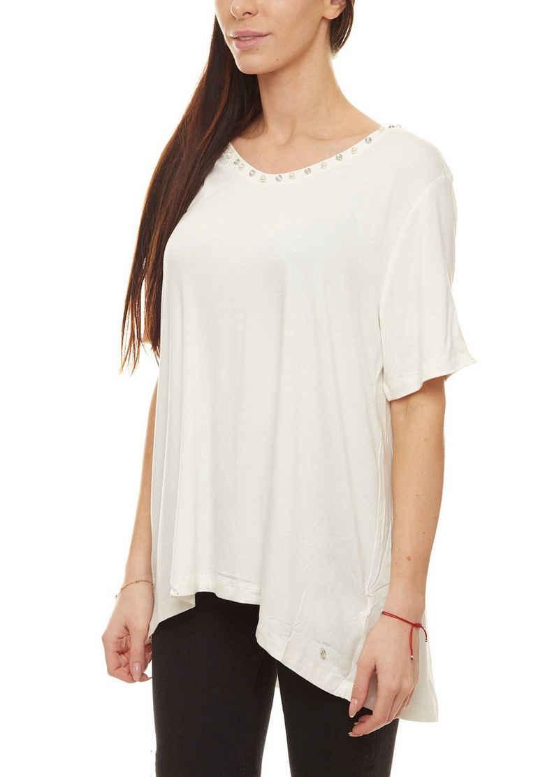 GUIDO MARIA KRETSCHMER T-Shirt »GUIDO MARIA KRETSCHMER T-Shirt cooles Damen Sommer-Shirt mit Zierperlen und Schmucksteinen Ausgeh-Shirt Weiß«