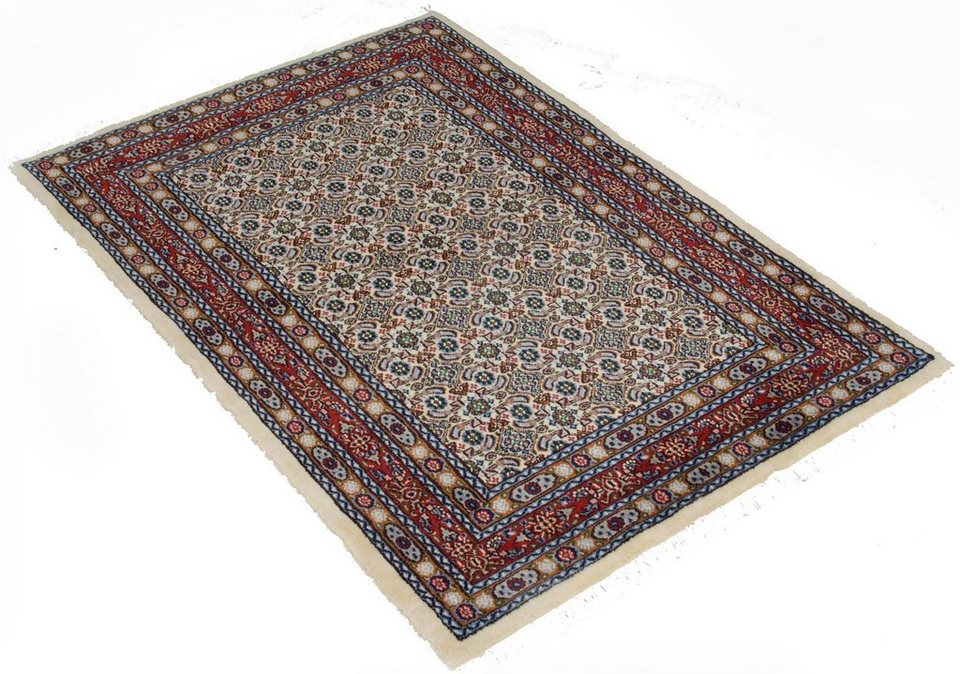 Orient-Teppich, Parwis, »Moud All Over«, 220.000 Knoten/m², handgeknüpft, Wolle, Unikat in creme