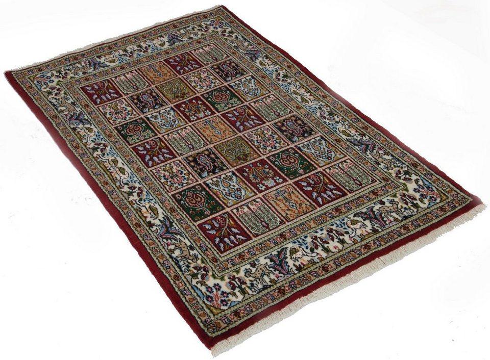 Orient-Teppich, Parwis, »Moud Felder«, 220 000 Knoten/m², handgeknüpft, Wolle, Unikat in rot