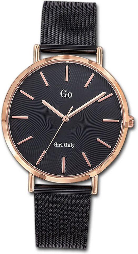 girl only -  Quarzuhr »D2UGO695999  Edelstahl Damen Uhr 695999«, (Quarzuhr), Damenuhr mit Edelstahlarmband, rundes Gehäuse, mittel (ca. 35mm), Fashion-Style, Made-In France