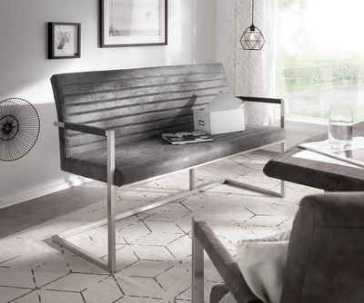 DELIFE Essbank »Earnest«, Quersteppung Grau Vintage 140 cm mit Armlehne Gestell Edelstahl Sitzbank