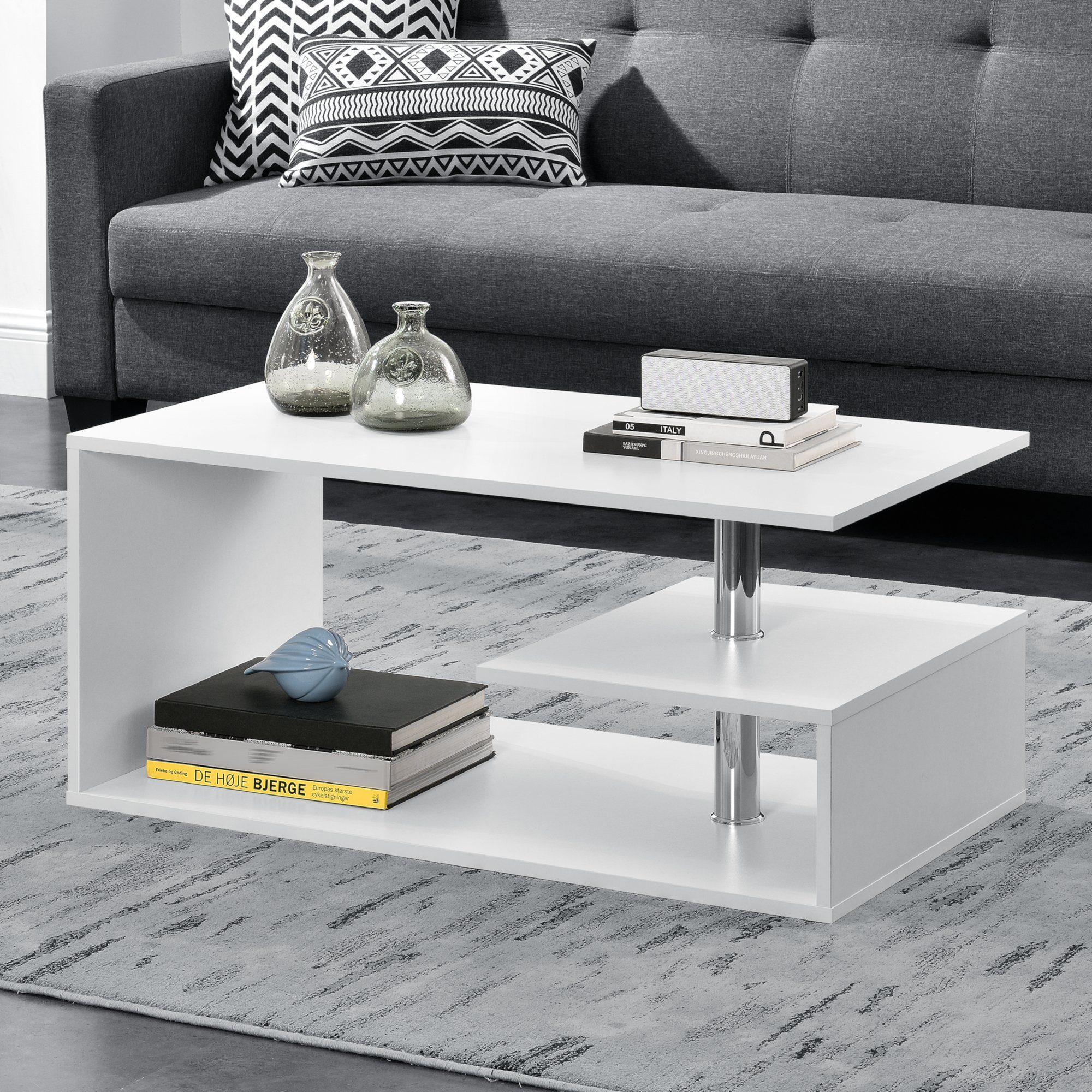 en.casa Couchtisch, »Haarlem« Beistelltisch mit Ablagefach 90x50x41cm weiß online kaufen | OTTO