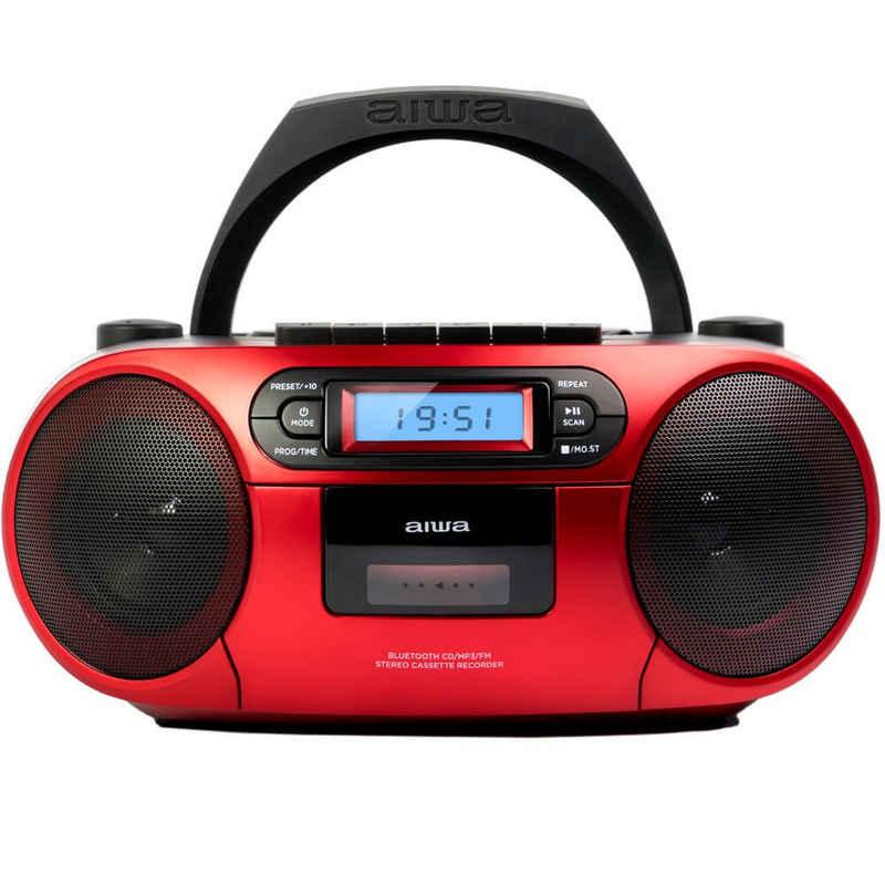 Aiwa »BBTC-550 Tragbarer CD Player mit Radio, Kassette, Bluetooth und USB Kassettenspieler mobil Boombox« tragbarer CD-Player (Digitaluhr mit 24h Anzeigeformat 6 W RMS Audio-Ausgangsleistung (3W x2)
