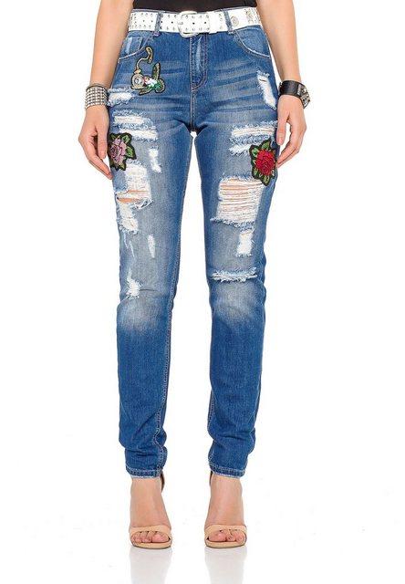 Hosen - Cipo Baxx Bequeme Jeans mit tollen Patches und praktischem Gürtel › weiß  - Onlineshop OTTO