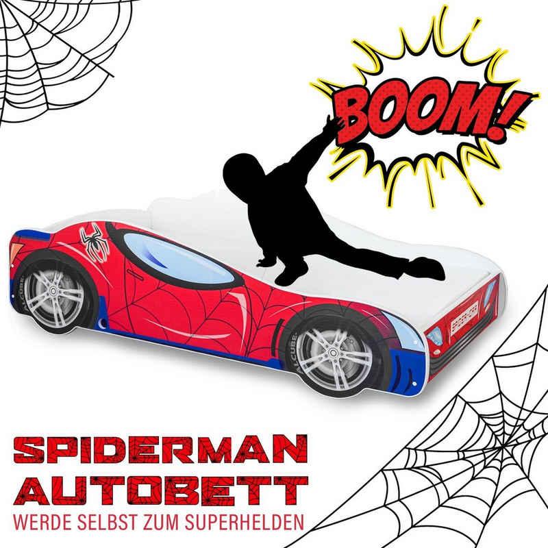 Alcube Rennwagenbett »SPIDER CAR«, Autobett 70x140 cm für kleine Rennfahrer im Spiderman Design ohne Matratze, mit Lattenrost und Rausfallschutz, FSC-zertifiziert