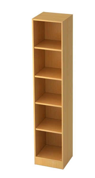 bümö Aktenregal »OM-6040«, Büroregal, Bücherregal, Regal für Ordner, Akten & Bücher mit 5 Ordnerhöhen - Dekor: Buche