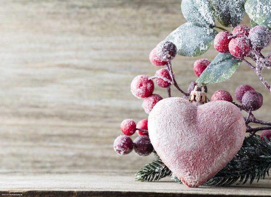 Platzset, »Tischsets I Platzsets - Weihnachten - Weihnachtsdeko - Verschneites Herz mit Zweigen - 12 Stück aus hochwertigem Papier 44 x 32 cm«, Tischsetmacher, (12-St)