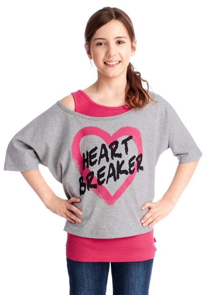 "CFL Fledermausshirt ""HEARTBREAKER"" (Set, 2 tlg., mit Top) in pink-grau"