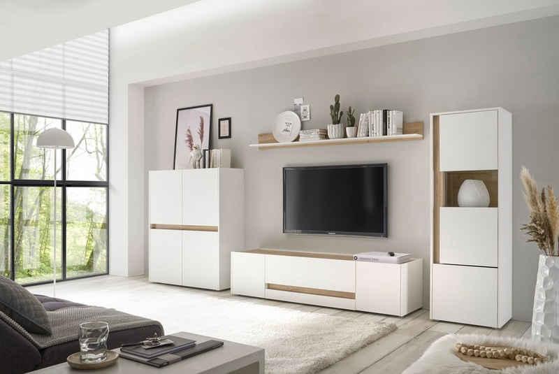 INOSIGN Wohnwand »Giron«, (Set, 4-St), Breite ca. 350 cm, modernes Wohnzimmer-Set in zwei Farben