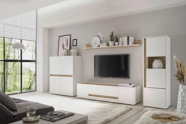 Wohnwand »Giron«, (Set, 4-St), Breite ca. 350 cm, modernes Wohnzimmer-Set in zwei Farben