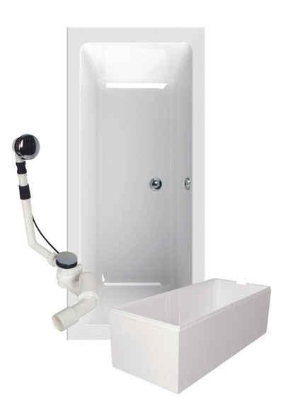 Calmwaters Badewanne, (3-tlg), Weiß, Acryl, 3 in 1 Komplett-Set aus Rechteckbadewanne, wärmeisolierendem Wannenträger und Ablaufgarnitur, Duobadewanne für zwei Personen