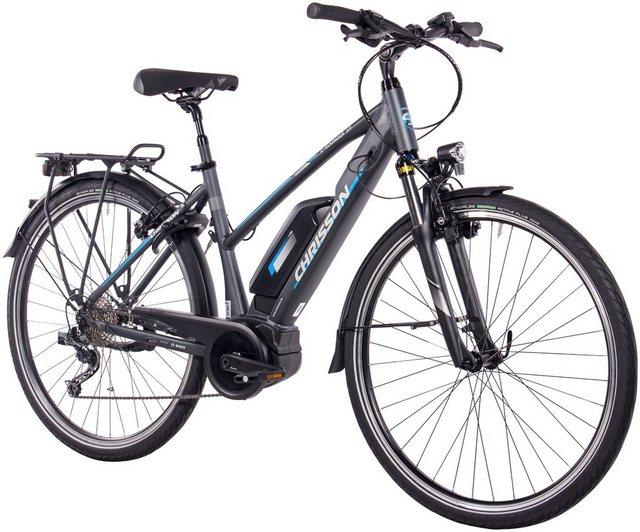 CHRISSON E-Bike Trekking Damen »E-Rounder Lady«, 9 Gang, Shimano DEORE Kettenschaltung, Rahmenakku, 250 W*