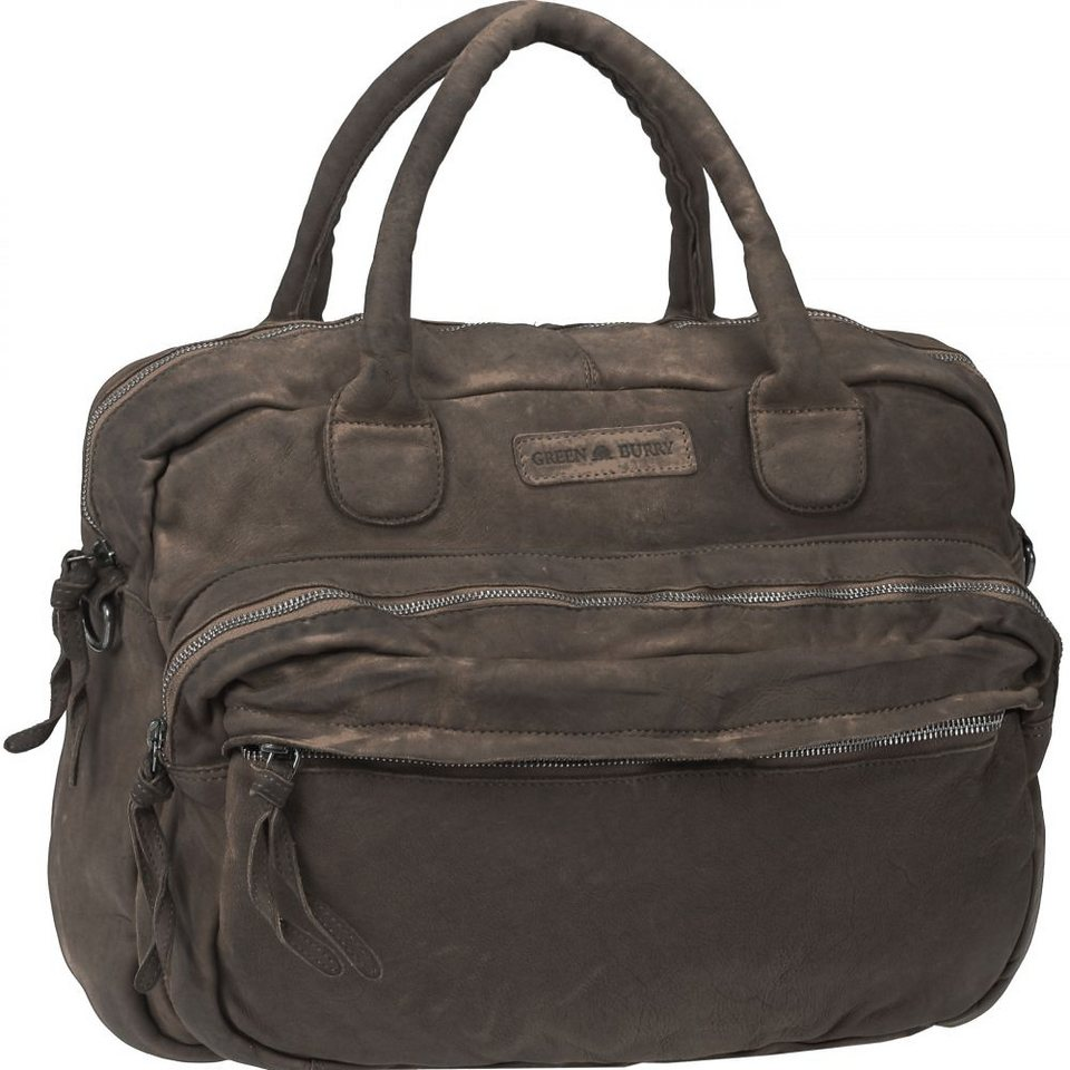 Greenburry Drum Washed Cow Henkeltasche I Leder 41 cm in dark brown