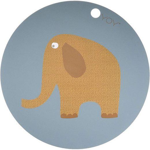 Platzset, »Elefant«, OYOY, Tischset, Platzdeckchen, Tischschutz, Abwaschbar, Baby, Kinder, Rund, 39 cm, Silikon, Tier-Motiv, Unterlage, Bastelunterlage