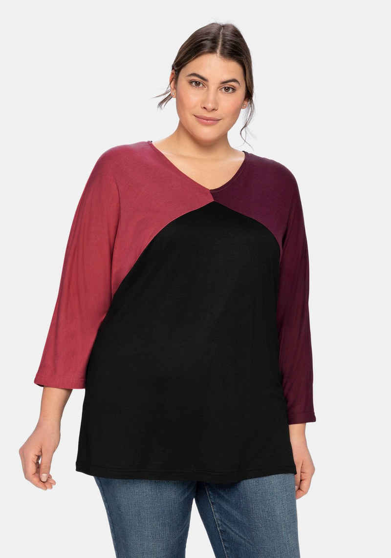 Sheego 3/4-Arm-Shirt im Colourblocking-Stil