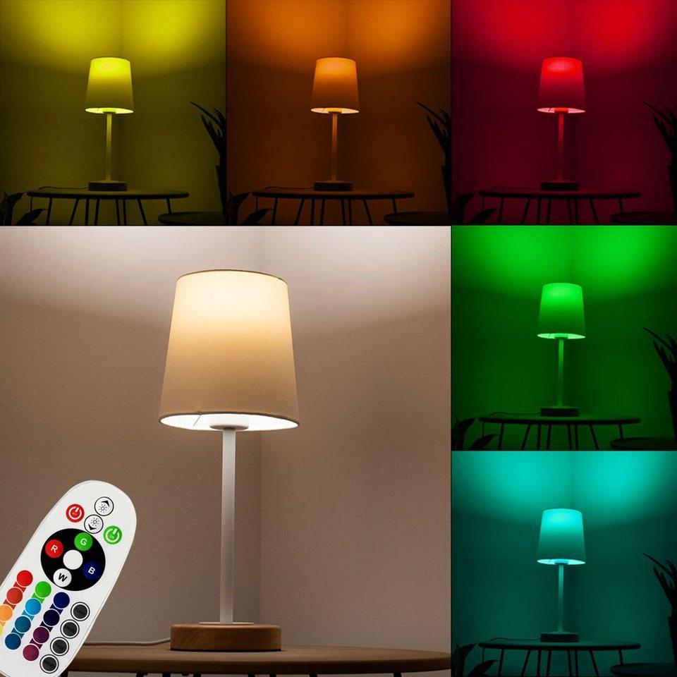etc shop Tischleuchte, Tisch Leuchte Ess Zimmer Holz Beistell Nacht Licht  FERNBEDIENUNG im Set inkl. RGB LED Leuchtmittel online kaufen   OTTO