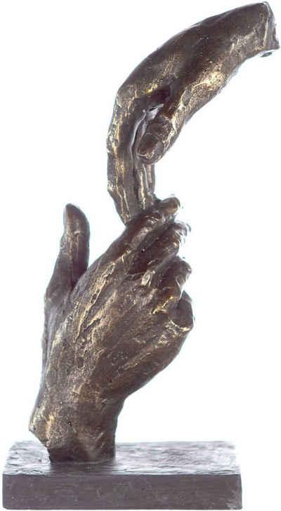 Casablanca by Gilde Dekofigur »Skulptur Two Hands, bronzefarben/grau« (1 Stück), Dekoobjekt, Höhe 29, Hände, mit Spruchanhänger, Wohnzimmer