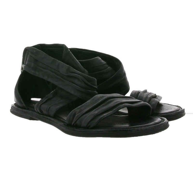 A.S.98 »A.S.98 Echtleder-Sandale moderne Damen Riemchen-Sandalette mit Reißverschluss an Ferse Sommer-Sandalette Schwarz« Sandale