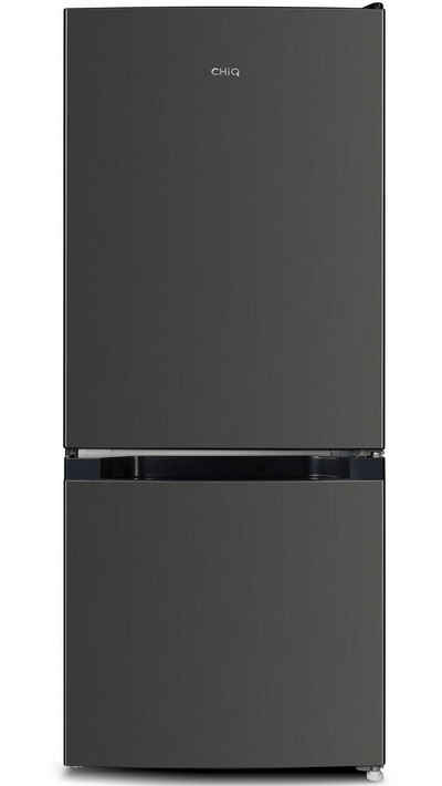 ChiQ Kühlschrank FBM157L42, 144 cm hoch, 47,4 cm breit, Freistehender Kühlschrank mit Gefrierfach, Kühl-Gefrierkombination Low-frost Technologie, 12 Jahre Garantie auf den Kompressor*, Dunkler Edelstahl Look (157L Low Frost)