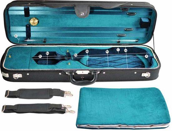 Steinbach Violinen-Koffer »Steinbach 4/4 Geigenkoffer Rechteckmodell petrolgrün mit Zierborde und Rucksackriemen«