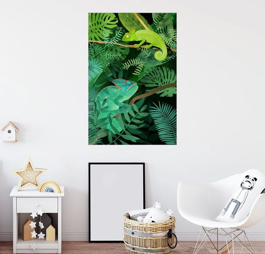 Posterlounge Wandbild, Premium-Poster Greenery Chamäleons