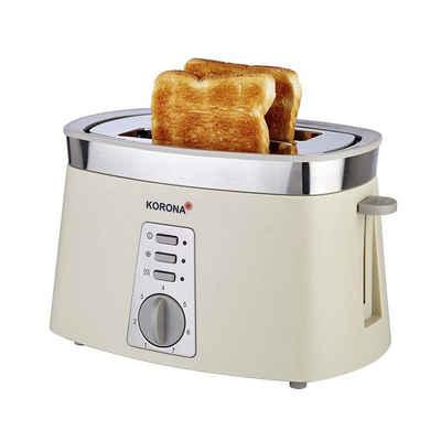 KORONA Toaster 2-Scheiben-Toaster Edelstahl-Applikation, 2 kurze Schlitze, 920 W, abnehmbarer Brötchenaufsatz, Krümelschublade, Auftaufunktion, Aufwärmfunktion, 920 Watt, stufenlos einstellbarer Bräunungsgrad, Brotscheibenzentrierung, Farbe: Cremé