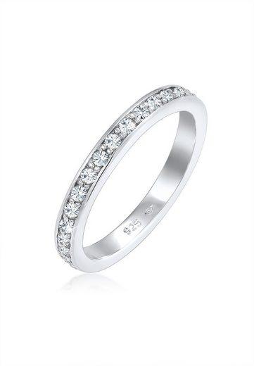 Elli Fingerring »Memoire Verlobung Swarovski® Kristalle 925 Silber«, Bandring