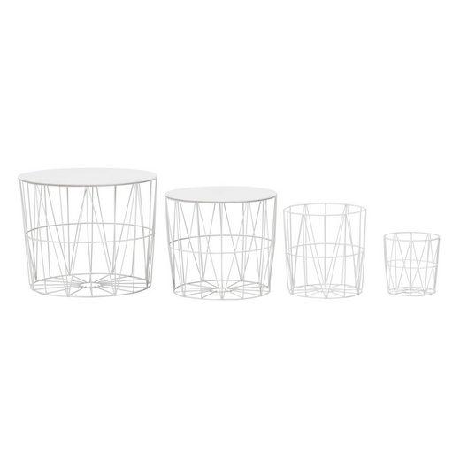 Wohnling Beistelltisch »WL6.076«, Design 4er Set aus Körben Weiß Moderne Korbtische mit abnehmbaren Tablett Satztisch 4-teilig mit Stauraum