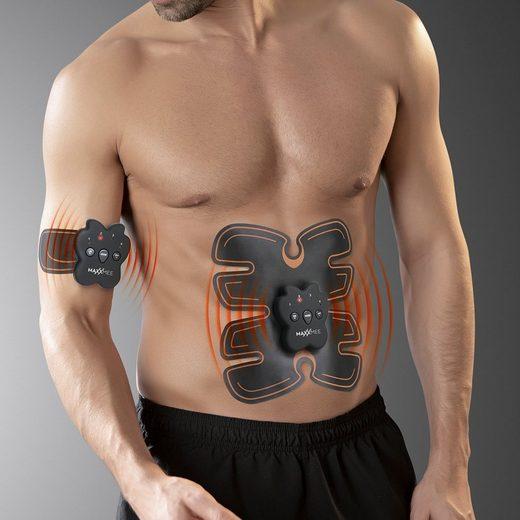 MAXXMEE Bauchmuskelmaschine (4-St), Muskelstimulations-Set schwarz/orange EMS
