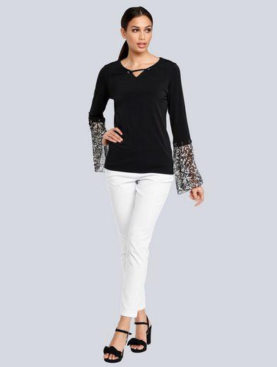 Alba Moda Print-Shirt mit bedruckten Ärmeln
