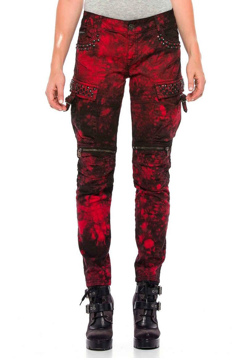Cipo & Baxx Slim-fit-Jeans mit lässigen Biker-Elementen