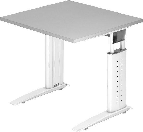 bümö Schreibtisch »OM-US08-W«, höhenverstellbar - Quadrat: 80x80 cm - Gestell: Weiß, Dekor: Grau
